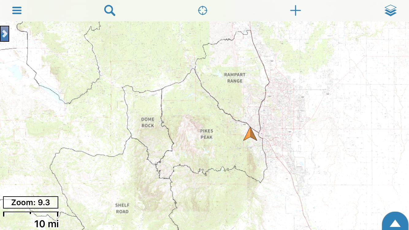Colorado bighorn sheep hunt districts, superimposed over US Topo.